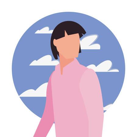 man avatar character sky background vector illustration