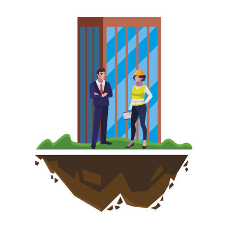 engineer with female builder and building vector illustration design Ilustracja