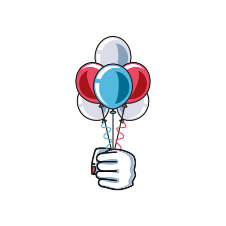 hand fist power female with balloons helium vector illustration design