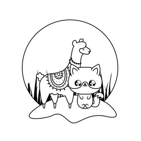 cute fox with alpaca baby animals vector illustration design