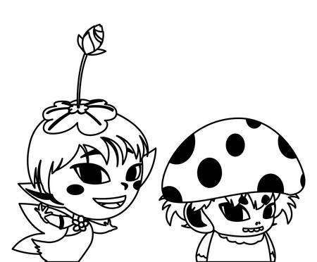 beautiful magic fairy and fungu elf characters vector illustration design