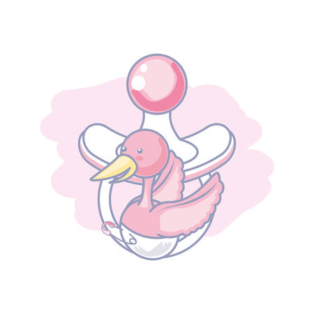cute pacifier baby with stork animal vector illustration design Illustration
