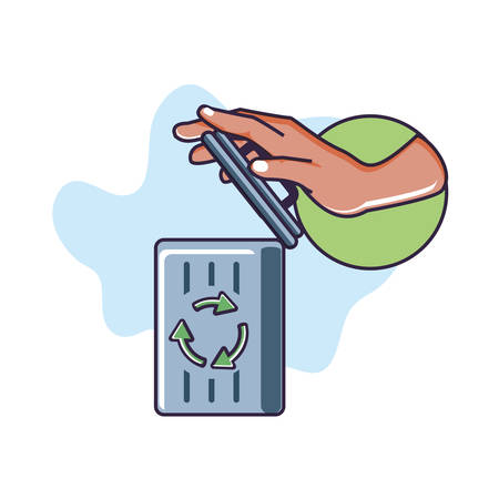 hand and recycle bin with signaling isolated icon vector illustration design Иллюстрация