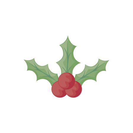 christmas symbol leaf holly, leaves with berries on white background vector illustration design Ilustração