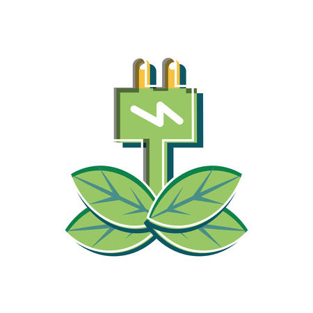 Plug design, Sustainability eco friendly green recycle ecology renewable and solution theme Vector illustration