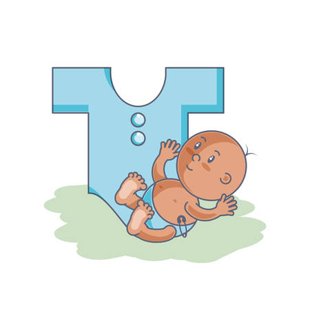 cute newborn boy with clothes for baby vector illustration design
