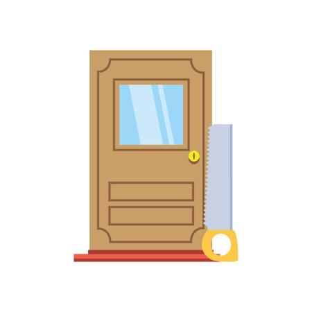 House door design, under construction work repair progress reconstruction industry and build theme Vector illustration