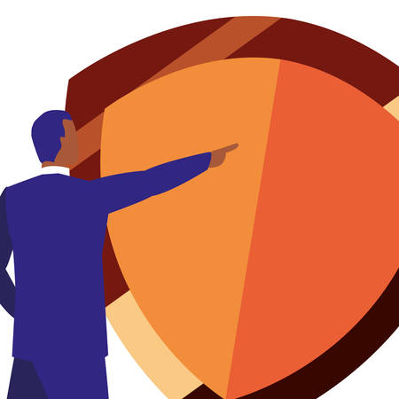 copyright of intellectual digital man shield protection vector illustration