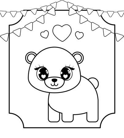 cute bear baby in card  style vector illustration design Stock Illustratie