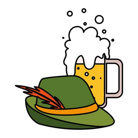 mug of beer with german hunting hat in white background vector illustration design
