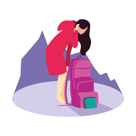 woman traveler with backpack hiking vector illustration  イラスト・ベクター素材