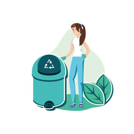 Avatar woman with trash design, Garbage recycle ecology eco save and environment theme Vector illustration Ilustração