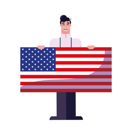 happy labor day - doctor american flag vector illustration Archivio Fotografico - 134034404