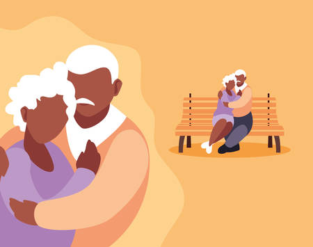 cute old couple seated in chair of park and hugged vector illustration design