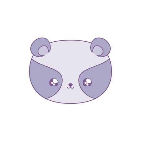 head of cute raccoon baby animal kawaii style vector illustration design