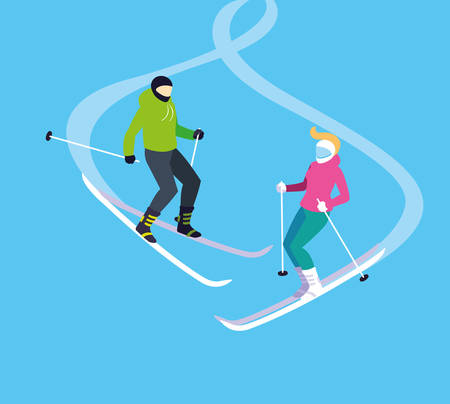 couple practicing ice skiing sport extreme vector illustration design