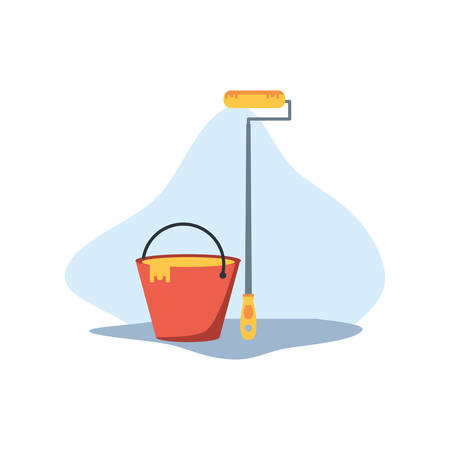 Bucket design, under construction work repair progress reconstruction industry and build theme Vector illustration