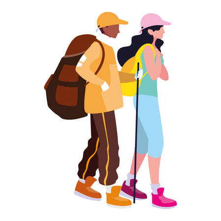 Trekking man and woman design, Sport hiking walk trudge ramble and camping theme Vector illustration