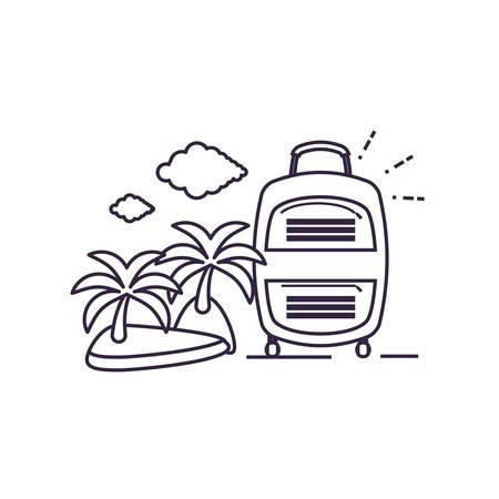 island beach with suitcase isolated icon vector illustration design Stock Illustratie