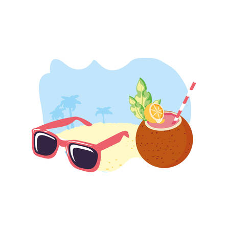 summer sunglasses in the beach with coconut cocktail vector illustration design