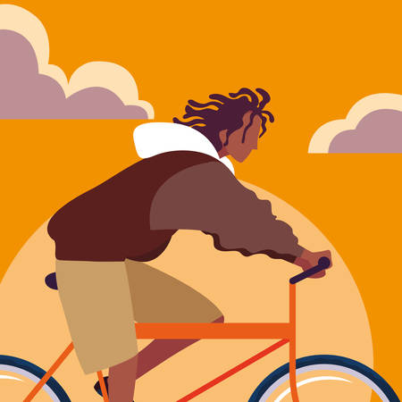 young man afro riding bike with sky orange vector illustration design