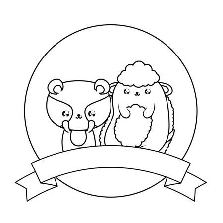 cute raccoon with sheep baby animals vector illustration design