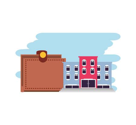 hotel building place with wallet money vector illustration design Illusztráció