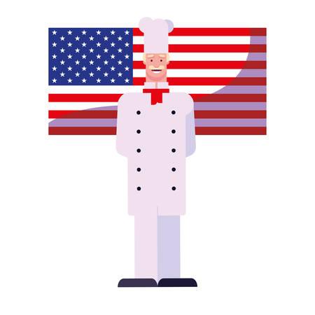 happy labor day - chef american flag vector illustration