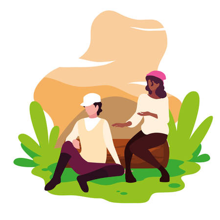 young couple resting in landscape nature vector illustration design