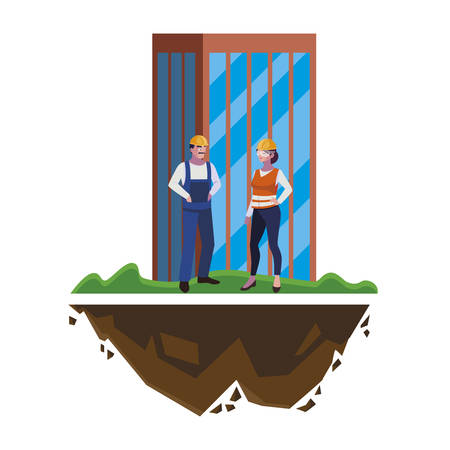 couple of builders constructors workers with building vector illustration design