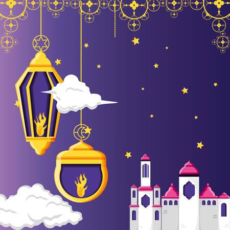 ramadan kareen celebration card with mosque vector illustration design
