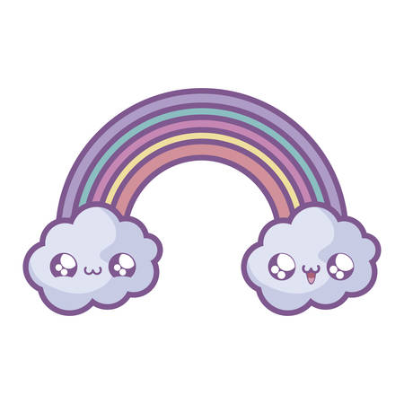 cute rainbow with clouds style vector illustration design
