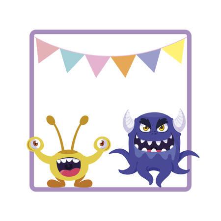 square frame with funny monsters and garlands hanging vector illustration design Illusztráció