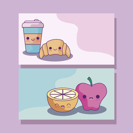 set of delicious food and fruits with drink style vector illustration design