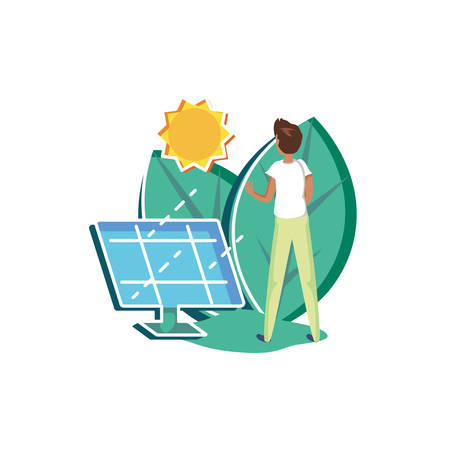 Man avatar and solar panel design, Sustainability eco friendly green recycle ecology renewable and solution theme Vector illustration