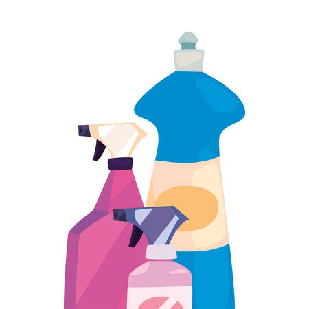 disinfectant spray bleach cleaning products and supplies vector illustration