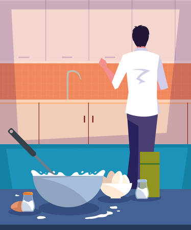 professional chef cooking in kitchen scene vector illustration design