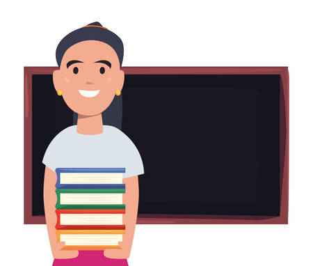 boy with books and chalkboard back to school vector illustration