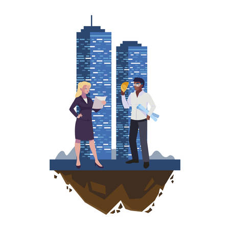 afro male builder with female engineer with building vector illustration design Imagens - 134051947