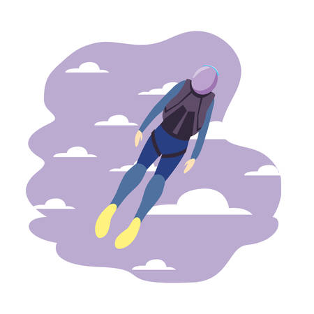 skydivers extreme sport and lifestyle vector illustration 일러스트