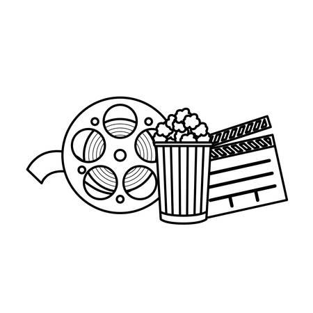 clapboard cinema with tape and popcorn vector illustration design Illustration