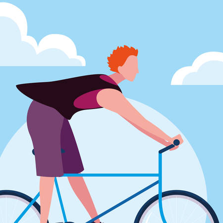 young man riding bike with sky and clouds vector illustration design