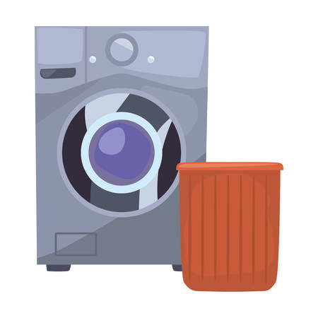 washing machine bucket laundry cleaning products vector illustration