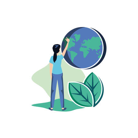 Woman avatar and planet design, Sustainability eco friendly green recycle ecology renewable and solution theme Vector illustration 일러스트