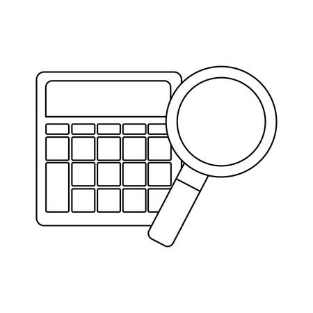 search magnifying glass with calculator vector illustration design