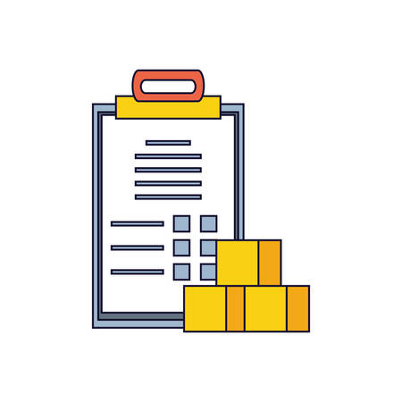 checklist clipboard order with boxes vector illustration design