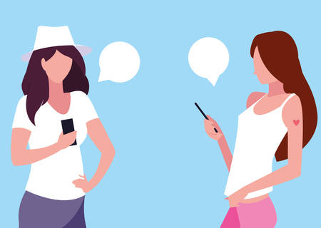 young women avatar using smartphones devices vector illustration design