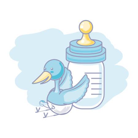 stork animal with diaper and bottle milk baby vector illustration design Illustration