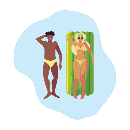 interracial couple with float mattress in water vector illustration design