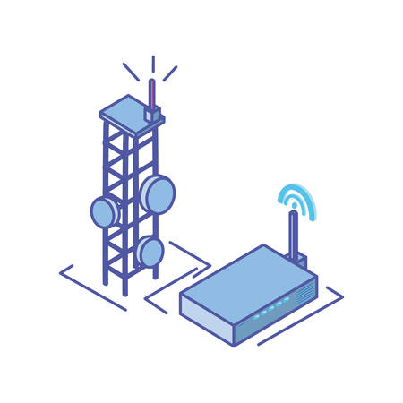 telecommunications tower with wireless router in white background vector illustration design